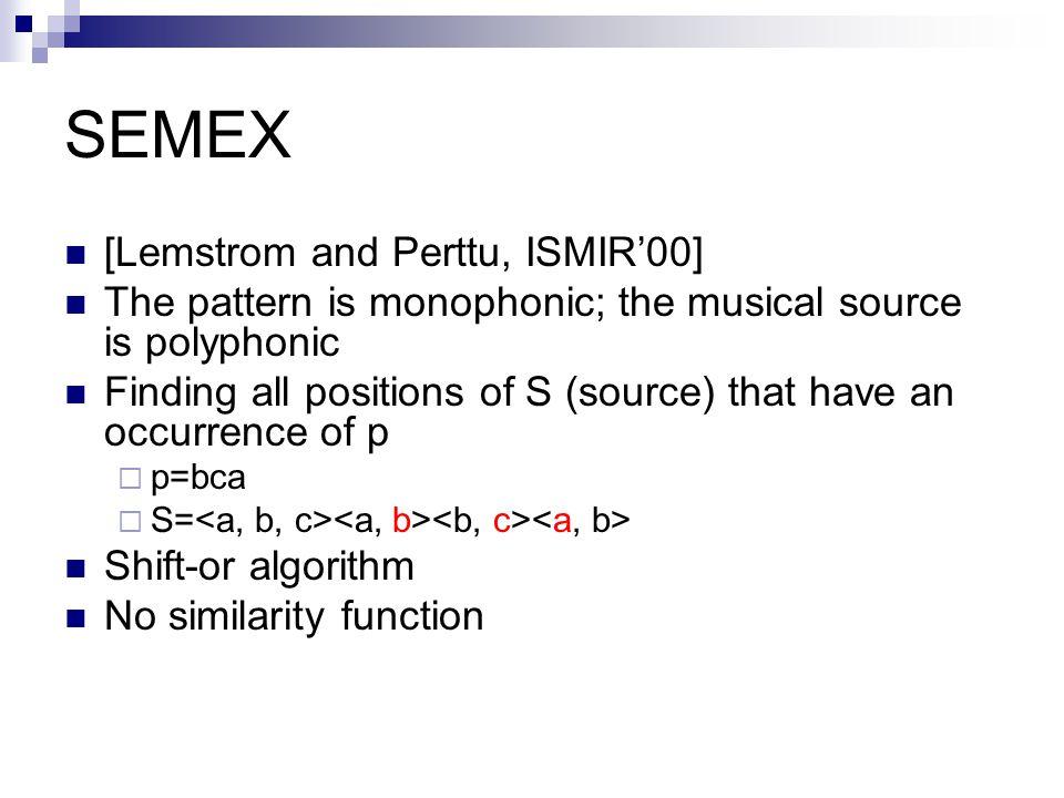 SEMEX [Lemstrom and Perttu, ISMIR'00]